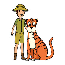Man Worker Of Zoo With Tiger