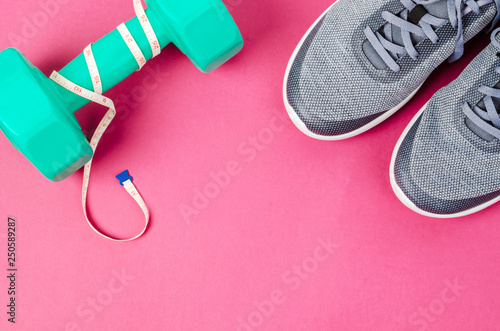 Green dumbbell and sneakers on pink background. Canvas Print