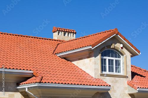 Fototapeta Ceramic Tiled Roof On House obraz