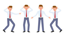 Young Office Worker In Formal Wear Shocked, Surprised, Amazed, Under The Pressure. Cartoon Character Design Of Stressed, Worry, Nervous, Scared Man Emotions Concept - Vector