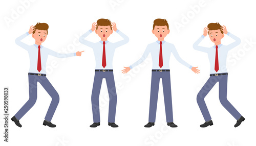 Fotografia Young office worker in formal wear shocked, surprised, amazed, under the pressure