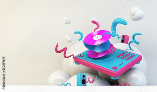 Fotografie, Obraz  DJ turntable illustration