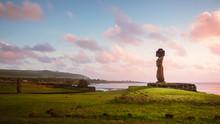 Moai Of Ahu Tahai In Hanga Roa, Capital Of Easter Island During Sunset