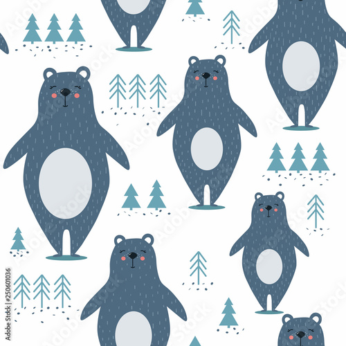 Seamless pattern, bears, fir-trees, hand drawn overlapping backdrop. Colorful background vector. Illustration with animals. Decorative wallpaper, good for printing