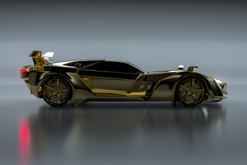 Złoty samochód sportowy (rendering 3D)