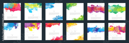 Fototapety, obrazy: Big set of bright colorful vector watercolor background for poster, brochure or flyer
