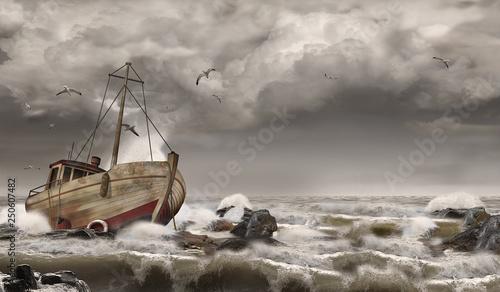 Splatająca łódź rybacka, wrak statku, burza na morzu