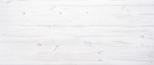 White Painted Wooden Desk Background Tabletop Horizontal Photo Banner For Website Design, Light Blank Rustic Wood Texture Timber Board Surface Empty Table Plank Header With Copy Space, Top View