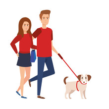 Lovers Couple Walking With Dog