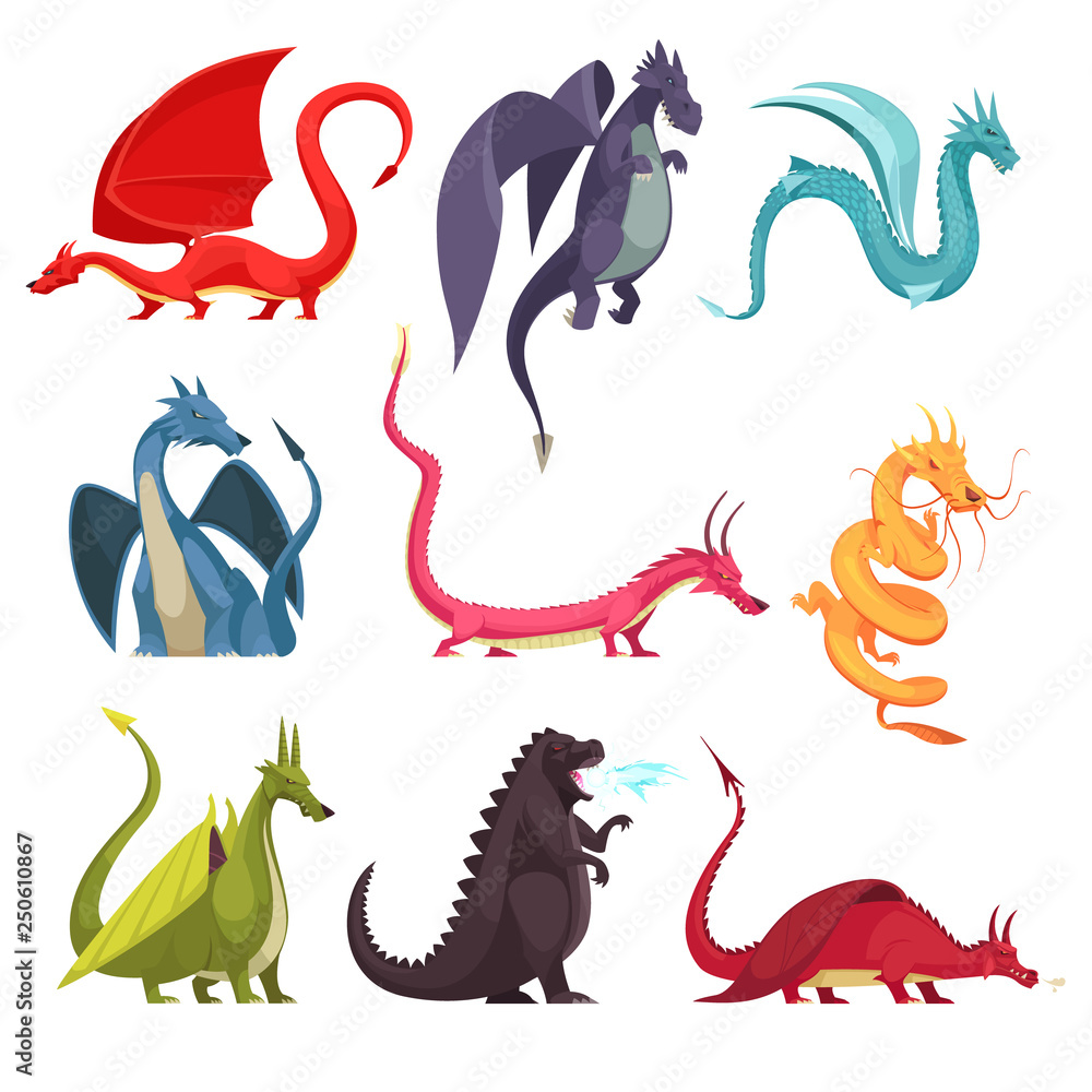 Fototapeta Dragons Monsters Cartoon Set