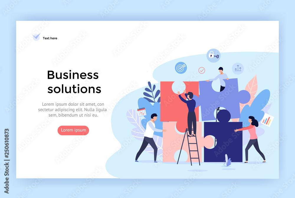 Fototapeta Business solution concept illustration, perfect for web design, banner, mobile app, landing page, vector flat design