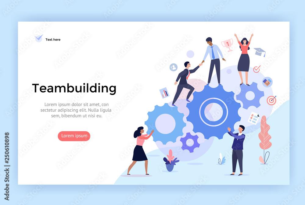 Fototapeta Teambuilding concept illustration, perfect for web design, banner, mobile app, landing page, vector flat design