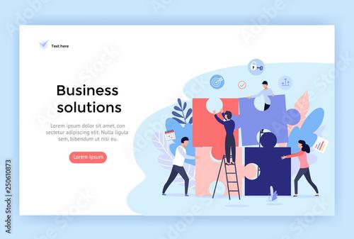 Fototapeta Business solution concept illustration, perfect for web design, banner, mobile app, landing page, vector flat design obraz