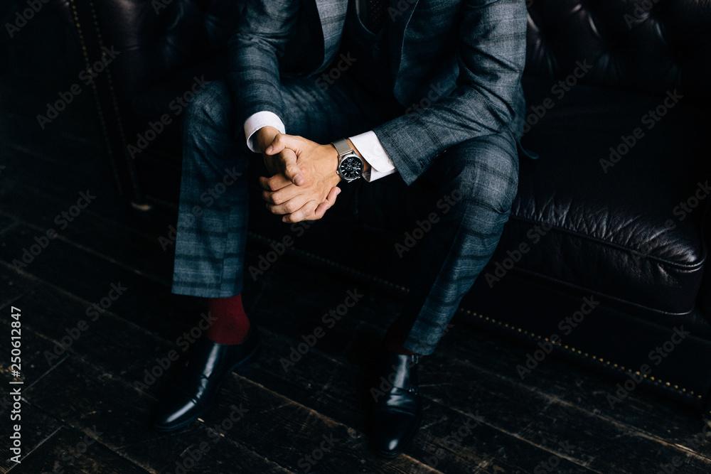 Fototapety, obrazy: Closeup fashion image of luxury watch on wrist of man.body detail of a business man.