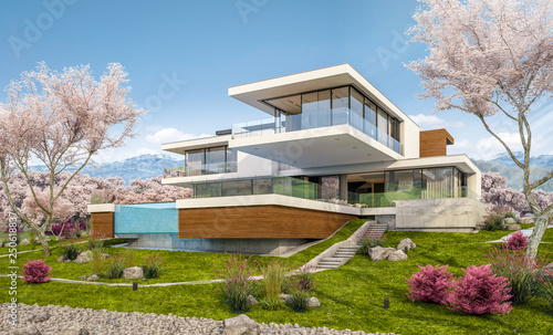 3d rendering of modern house by the river in spring - 250618837