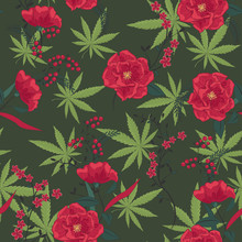 Cannabis Leaves With Flowers Pattern. Marijuana And Flowers Pattern. Cannabis Pattern. Vector Illustration.