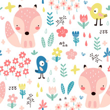 Seamless Pattern With Cute Fox...
