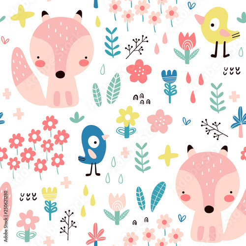 Seamless pattern with cute foxes for baby