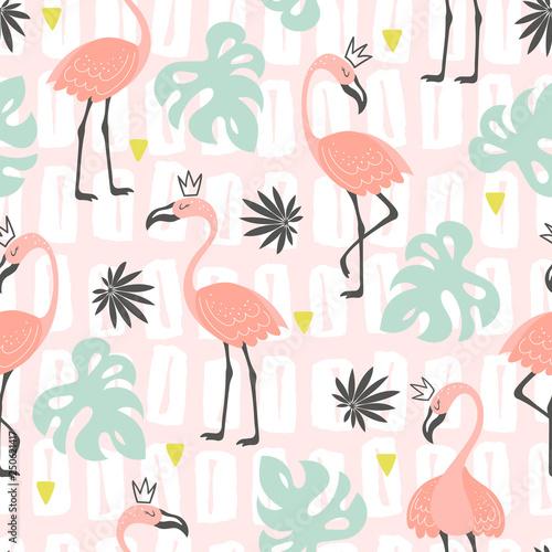 obraz dibond Tropical trendy seamless pattern with flamingos