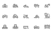 Agricultural Machinery Vector Line Icons Set. Equipment For Ploughing, Harvesting, Sowing, Planting, Irrigation. Sprayer , Harvester, Tractor, Cultivator. Editable Stroke. 48x48 Pixel Perfect