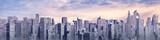 Fototapeta Miasto - Science fiction city day panorama / 3D illustration of futuristic sci-fi city under bright sky