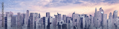 Science fiction city day panorama / 3D illustration of futuristic sci-fi city...