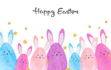 Colorful Easter Card With Cute Watercolor Bunnies.