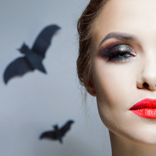 Halloween Makeup, Bright And Stylish Girl With Red Lips And Smokey Eyes Makeup.