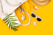 Tropical Beach Accessories On Yellow Background. Summer Travel Vacation Concept