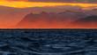Leinwandbild Motiv Beautiful sunset capture from the city Hofn, Iceland.