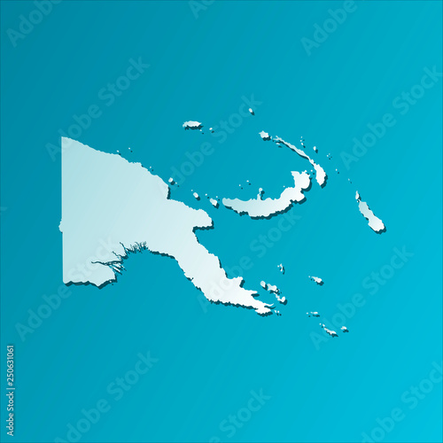 Fotografie, Obraz Vector isolated illustration icon with light blue silhouette of simplified map of Papua New Guinea (Oceanian state)