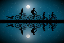 Family On Bikes On Moonlit Night. Active Rest Of Parents With Children. Vector Illustration With Silhouettes Of Cyclists And Running Dog In Park. Full Moon In Starry Sky