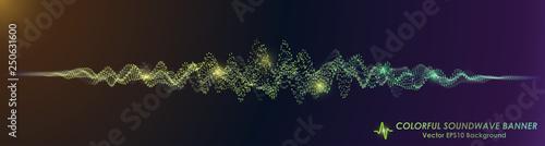 Fotografie, Obraz  Colorful Sound Wave on Black Background