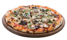 Pizza With Mushrooms On A Wooden Board. On White Background.