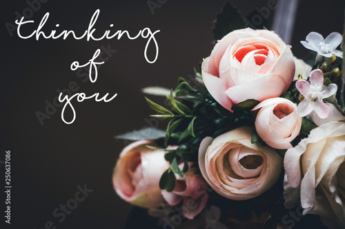 Fotografie, Obraz thinking of you - deepest sympathy card with rose flower wreath