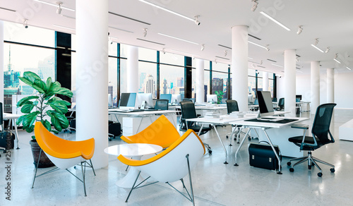 Obraz 3d modern office interior render - fototapety do salonu