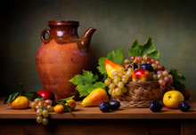 Still Life With Apple, Grapes,...