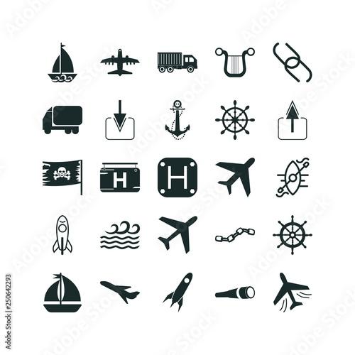 Photo  ship icon set. barbitos icon and ship icon vector icons.