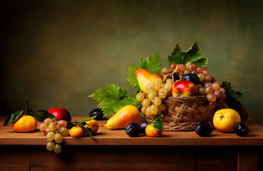 Still life with apple, grapes, pears and plums