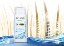 White Plastic Packaging With Hair Shampoo. Background With Human Hair