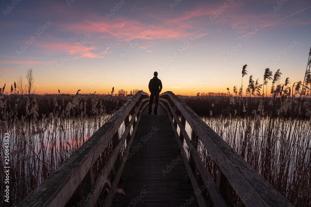 Man on a small bridge enjoying a tranquil dusk in Holland.