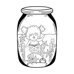 beautiful mermaid in mason jar fairytale character