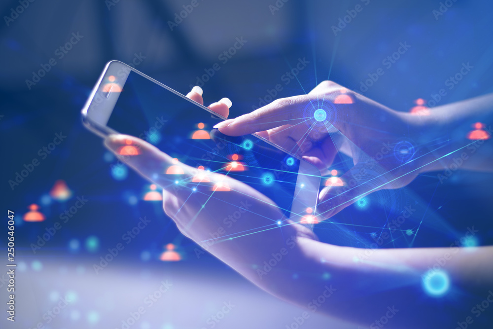 Fototapety, obrazy: girl with hand touch screen on technology smartphone for business social network connect to people concept