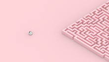 Maze Games Contemporary Concept Of Business On Pastel Pink Background