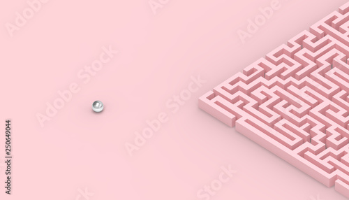 Maze Games Contemporary concept of business on Pastel Pink Background Fototapet