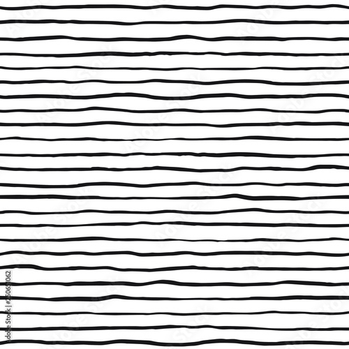 Fotografía Brush hand drawn ink uneven textured stripes seamless vector pattern
