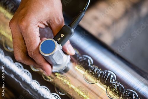 Ultrasonic test to detect imperfection or defect of round bar steel raw material in factory, NDT Inspection Canvas Print