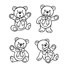 Teddy Bear With Big Ribbon On The Neck, Set Of Black And White Icons