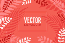 Vector Illustration In Trendy Flat And Linear Style - Abstract Simple Background In Trendy Living Coral Color