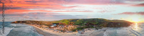 Snelling Beach in Kangaroo Island at sunset. Aerial view